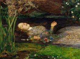 "Pintura de Sir John Everett de ""Ophelia"" de 1852"